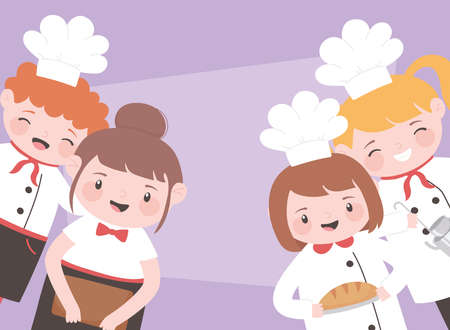 chefs cartoon character boys and girls preparation food vector illustration
