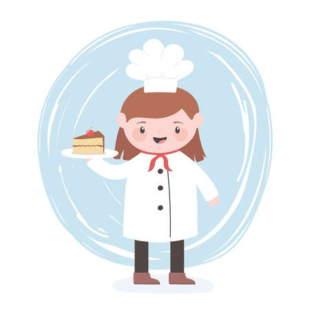 female chef cartoon character with slice cake in dish vector illustration Illustration