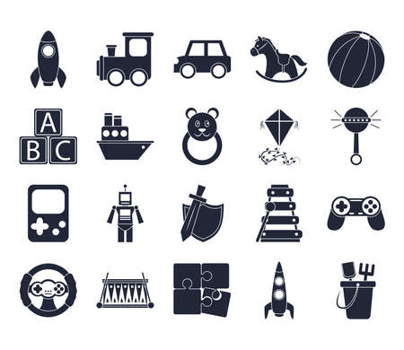 cartoon toy rocket train car robot cube boat bear kite, object for small children to play, silhouette style icons set vector illustration Illustration