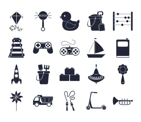 cartoon toy rattle duck bucket abacus helicopter boat, object for small children to play, silhouette style icons set vector illustration