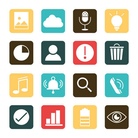 mobile application photo data telephone music search, web button menu digital flat style icons set vector illustration