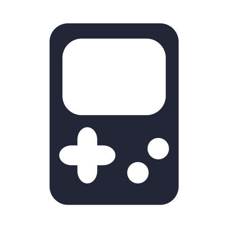 cartoon video game portable console toy object for small children to play, silhouette style icon vector illustration