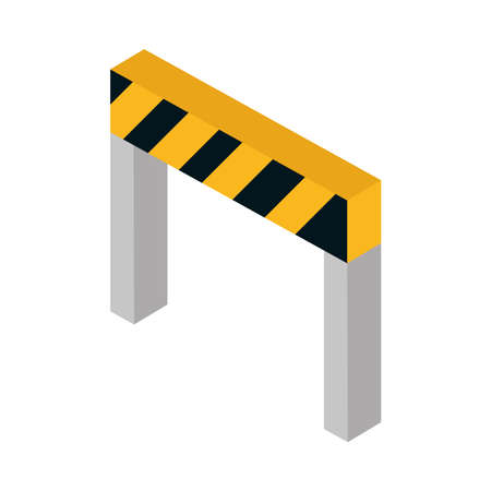 isometric repair construction barrier work tool and equipment flat style icon design vector illustration