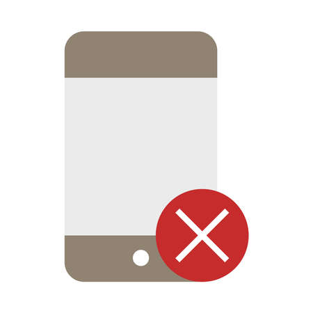 smartphone use prohibition sign flat style icon vector illustration