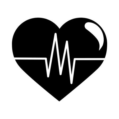 breathing and alive sign red love heart healthy linear style icon vector illustration