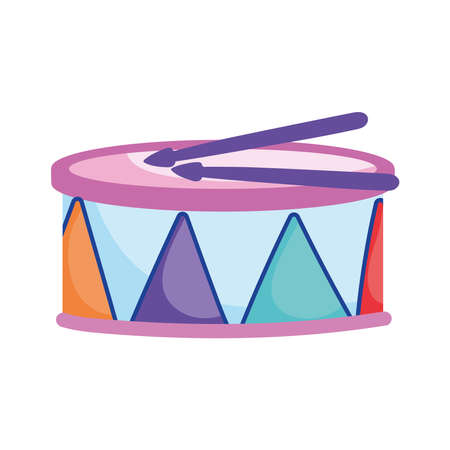 kids toys drum musical instrument cartoon isolated icon design white background vector illustration