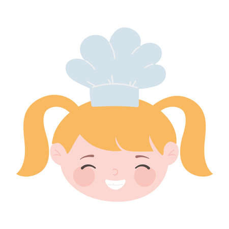 chef blonde girl face with hat cartoon character isolated icon design vector illustration Illustration