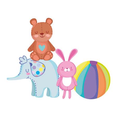 toys object for small kids to play cartoon, teddy bear rabbit elephant ball vector illustration