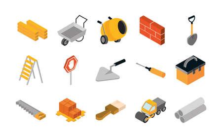isometric repair construction work tool and equipment wheelbarrow spatula saw truck shovel flat style icons set vector illustration
