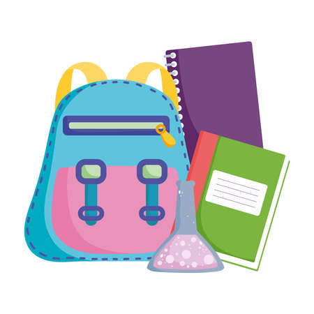 back to school, elementary education cartoon backpack books and chemistry flask vector illustration Ilustración de vector