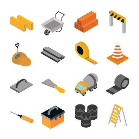 isometric repair construction work tool and equipment wood wheelbarrow barrier tape screwdriver truck barrels flat style icons set vector illustration
