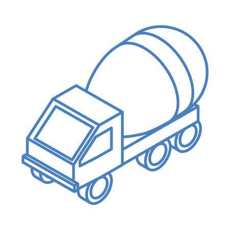 isometric repair construction concrete mixer truck transport work linear style icon design vector illustration