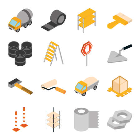 isometric repair construction work tool and equipment concrete mixer truck ladder tape gears brush hammer flat style icons set vector illustration