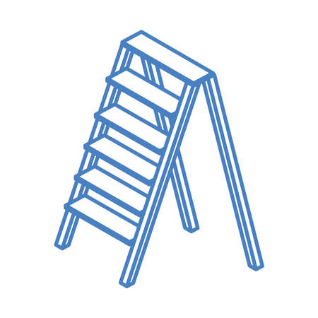isometric repair construction aluminum stair work tool and equipment linear style icon design vector illustration