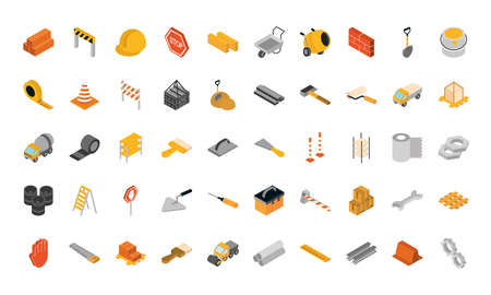 isometric repair construction work tool and equipment brick barrier helmet sign board shovel saw screwdrive flat style icons set vector illustration