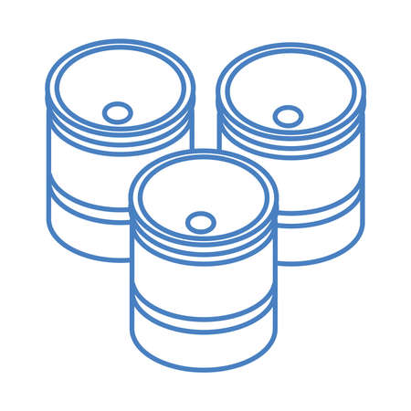 isometric repair construction barrels work tool and equipment linear style icon design vector illustration