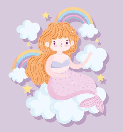 cute little blonde mermaid rainbows clouds stars cartoon vector illustration