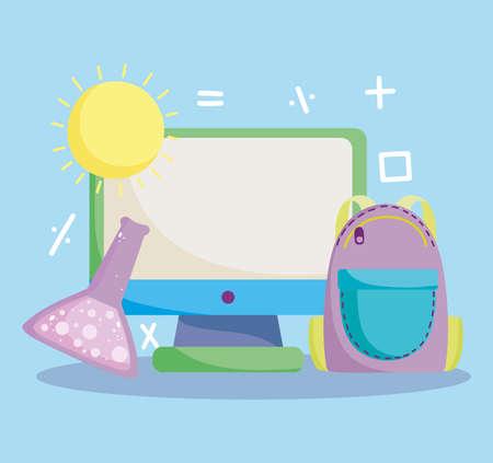 back to school, computer backpack chemistry test tube online elementary education cartoon vector illustration