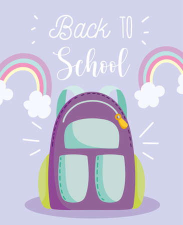back to school, backpack rainbows clouds decoration elementary education cartoon vector illustration