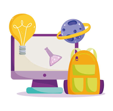back to school, computer backpack science chemistry flask planet online elementary education cartoon vector illustration