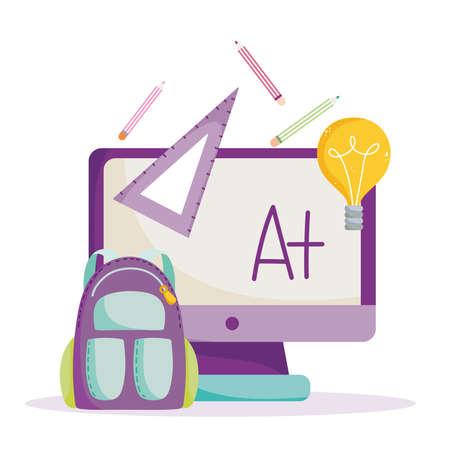 back to school, online computer backpack ruler pencils idea elementary education cartoon vector illustration
