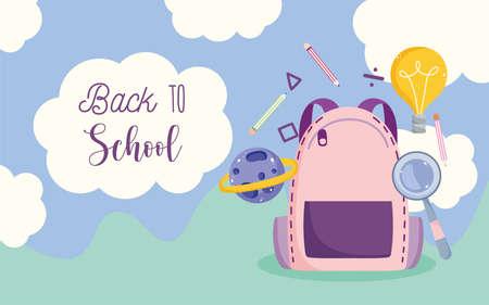 back to school, backpack elementary education cartoon