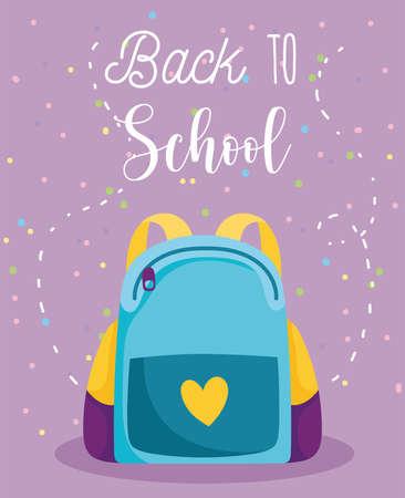 back to school, backpack elementary education cartoon vector illustration Illustration