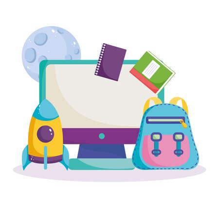 back to school, computer online backpack books rocket planet science elementary education cartoon vector illustration Illustration
