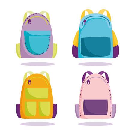 back to school, backpacks elementary education cartoon icons set vector illustration Illustration