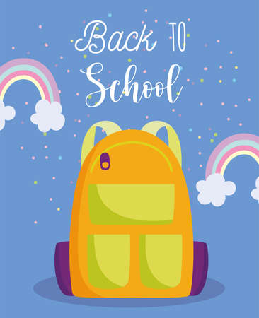 back to school, rucksack rainbows elementary education cartoon vector illustration Illustration