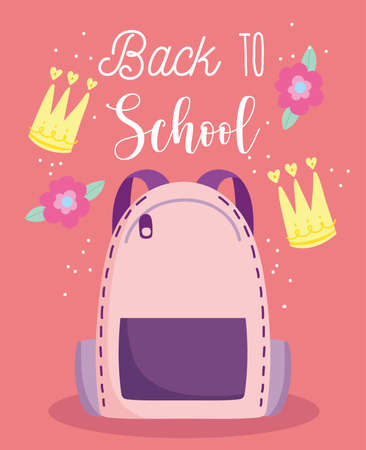 back to school, backpack elementary education cartoon flowers crowns vector illustration