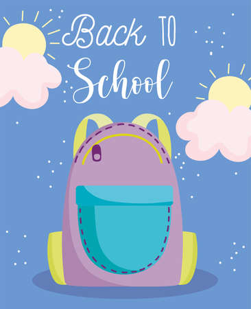 back to school, backpack with zipper elementary education cartoon vector illustration