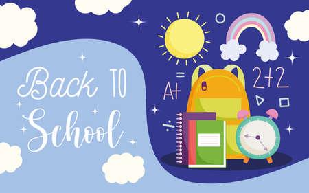 back to school, backpack alarm clock books elementary education cartoon vector illustration Illustration