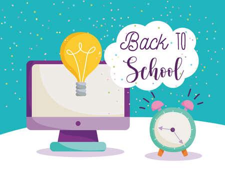 back to school, computer alarm clock idea elementary education cartoon vector illustration