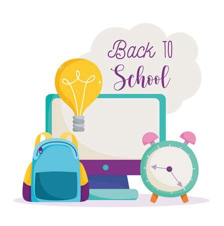 back to school, computer backpack clock idea online elementary education cartoon vector illustration
