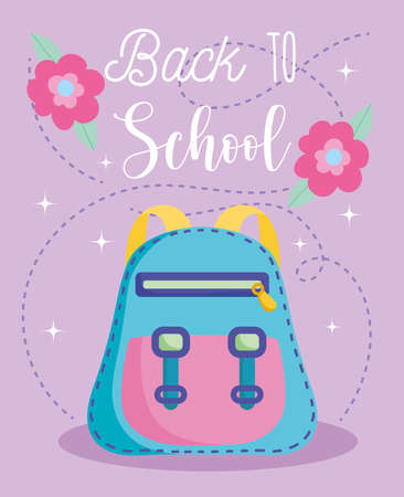 back to school, rucksack and flowers elementary education cartoon vector illustration