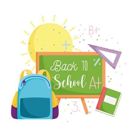 back to school, backpack chalkboard ruler and book elementary education cartoon vector illustration Illustration