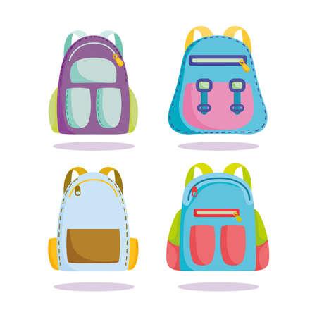 back to school, backpacks supplies accessories elementary education cartoon vector illustration Illustration
