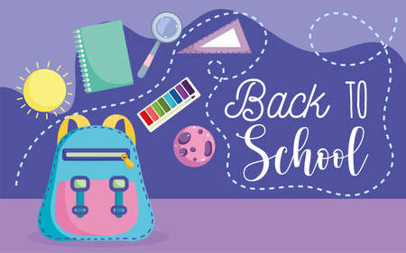 back to school, backpack book ruler magnifier elementary education cartoon vector illustration