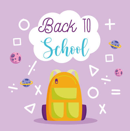 back to school, backpack arithmetic math shapes and signs elementary education cartoon vector illustration
