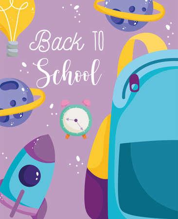 back to school, backpack alarm clock rocket planets elementary education cartoon vector illustration Illustration