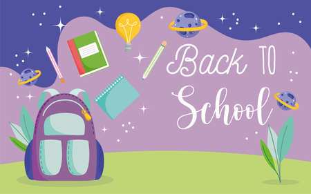 back to school, backpack pencils books planets space elementary education cartoon vector illustration