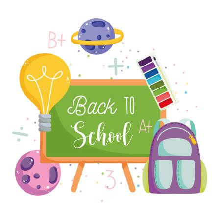 back to school, backpack chalkboard science planets creativity elementary education cartoon vector illustration