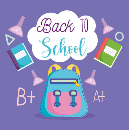 back to school, backpack laboratory test tubes and books elementary education cartoon vector illustration