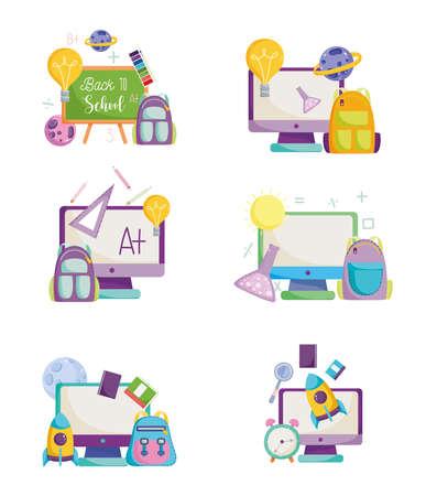 back to school, online computer bags chalkboard creativity elementary education cartoon icons vector illustration