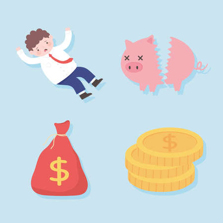 bankruptcy broken piggybank worried man bag money business process financial crisis vector illustration