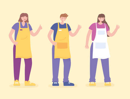 staff people in group character, customer service in store vector illustration