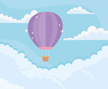 bright hot air balloon sky clouds blue background vector illustration