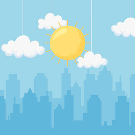 sky hanging clouds sun cityscape urban buildings scene vector illustration
