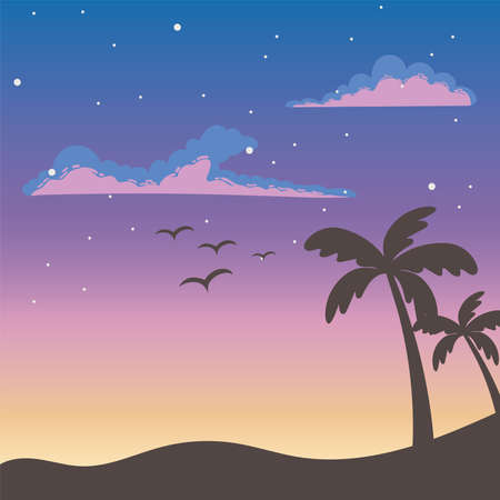 tropical palm trees birds sunset clouds stars sky scene vector illustration 일러스트